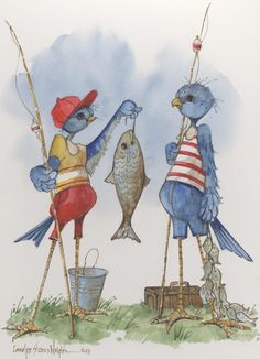A 9 x 7 lithographic print by Carolyn Shores Wright featuring humorous birds as fishermen. This item is part of her whimsical Bird Life series.