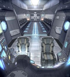 The spaceship cockpit 'Star Fall Drop Ship Interior' by Lorenz Hideyoshi Ruwwe Spaceship Interior, Futuristic Interior, Spaceship Design, Futuristic Design, Luxury Interior, Interior Design, Sci Fi Environment, Environment Design, Cyberpunk