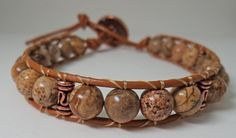 Single Wrap Jasper and Leather Bracelet by carricole on Etsy