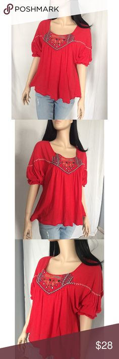 "Nwot Free People embroidered tunic top NWOT Embroidered Free People top. See photos for detailing. Size medium but can also fit a size large. Bust approx 23"" length ""22.5. Comes with extra beading. Cotton and nylon. Free People Tops Tunics"