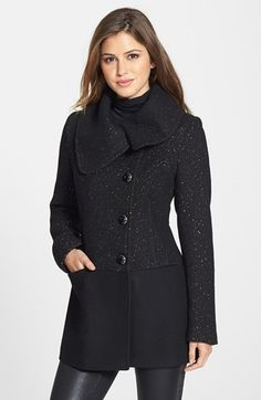 ZIP Front Wool Blend Coat
