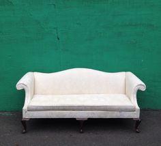 Vintage White Camel Back Damask Sofa by at1stsight on Etsy, $500.00