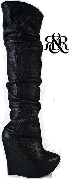 """Rock & Republic """"Able"""" Tumbled Leather in Black Eye, retailed at $525: Super Sexy Rocker Chic Thigh Highs with  a sky high wedge. Featuring a tumbled/slouchy wrinkle effect on a buttery soft lamb leather. This thigh high is super-high 5 1/2 inch wedge, but walkable due to the subtle 1 1/2 inch platform on a rounded toe."""