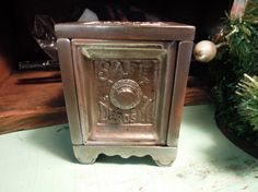 Antique Safe Deposit Coin Bank / Cast Iron by Tinastinytoddlers