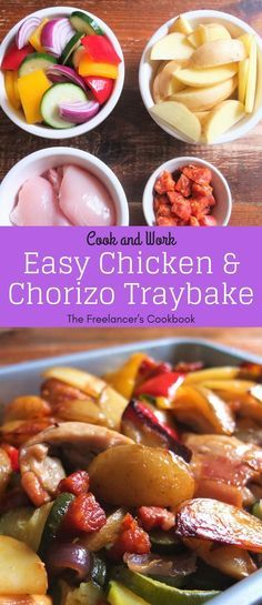 Chicken and chorizo sausage traybake - an easy, healthy one pan dish that cooks while you work. Chicken, spicy chorizo sausage, potatoes, onions, peppers and courgette make this a brilliant meal.