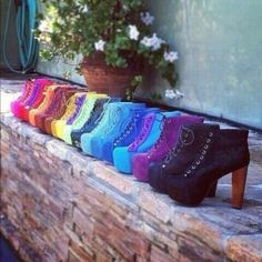 Lita by Jeffrey Campbell, rainbow of colors! Cute Shoes, Me Too Shoes, Funny Shoes, What's My Favorite Color, Rainbow Shoes, Rainbow Colors, Crazy Shoes, Dream Shoes, Jeffrey Campbell