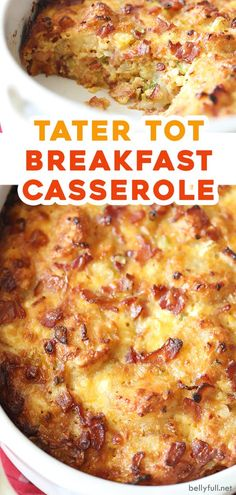 You'll love this easy Tater Tot Casserole recipe made Amish style with eggs, potato tater tots, bacon, and cheese. Great for breakfast or brunch and can easily be doubled to feed a crowd! Tater Tot Breakfast Casserole, Bacon Breakfast, Breakfast Dishes, Breakfast Recipes, Grits Casserole, Hamburger Casserole, Chicken Casserole, Bacon Egg Bake, Bacon Egg And Cheese
