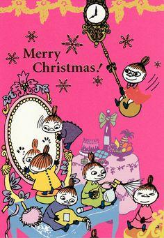 Moomin Christmas postcard printed in Japan Christmas Illustration, Children's Book Illustration, Little My Moomin, Moomin Wallpaper, Moomin Mugs, Vintage Christmas, Merry Christmas, Tove Jansson, Moomin Valley