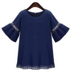 Trendy Solid Color Jewel Neck Bell Sleeve Cut Out Blouse For Women