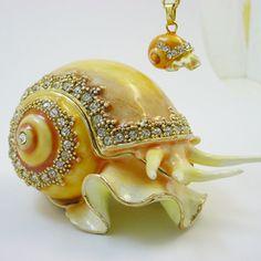 Apple Snail Trinket Box with Swarovski Crystals
