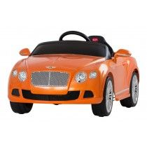 BENTLEY CONTINENTAL GT- LICENSED 12V ELECTRIC RIDE ON CAR - ORANGE   These official children's Licensed Bentley Continental GT ride on cars are the MUST HAVE children's 2014 ride on car and are proving a hit with kids and parents alike. This kids Bentley Continental  GT 12v ride on car looks great with their genuine Bentley badges and have a multitude of features to keep your young ones entertained.