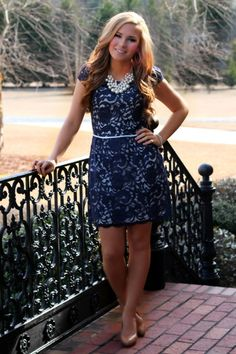 Off the Racks Boutique - Dream Come True Dress: Navy