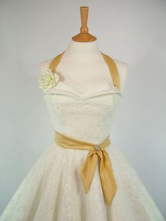 Made To Measure Duchess Satin & Lace Full Circle Petal Bust Wedding Dress - Detachable Straps and Belt. £185.00, via Etsy.