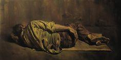Morteza Katouzian (1943), On the Pavement (En el Pavimento), 1984, Óleo sobre lienzo