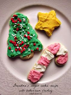 Grandma's sugar cookie recipe with buttercream frosting. Makes the perfect cut-out Christmas cookies!