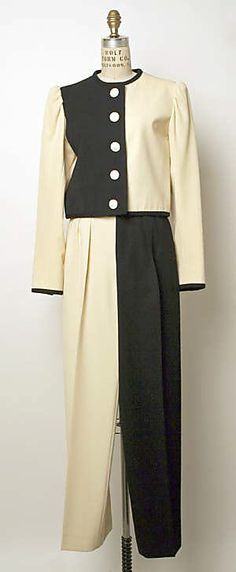 1980 - Picasso Collection  Yves Saint Laurent Ensemble      Yves Saint Laurent (1936–2008)     Yves Saint Laurent Rive Gauche (French, founded 1966)     spring/summer 1980 wool silk; cotton, leather