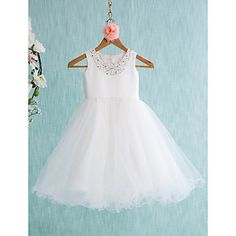 Lanting Bride Ball Gown Knee-length Flower Girl Dress - Satin / Tulle Sleeveless Jewel with – USD $ 59.99