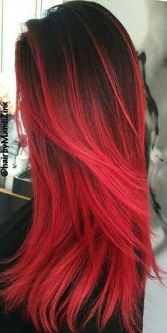 dark red hair color cherry ombre hair red pompadour wig black and red ombre hair orange ginger hair red hair dye for black hair - Hair Color Ideas Dye Black Hair Red, Dyed Red Hair, Black Ombre, Red Hombre Hair, Red Hair For Short Hair, Red Hair Ends, Red Hair Red Dress, Straight Hair, Red Hair Male