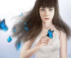 Blue Butterflies - Blue, White, Girl, Fantasy, Art, Butterfly, White Blue, Blue Butterfly, Blue Girl, Blue Fantasy