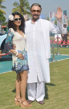 Kabir Bedi with Parveen Dusanj at the unveiling of Kingfisher Calendar 2014. #Fashion #Style #Bollywood #Beauty