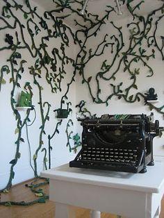 typewriter writing leaves... lovely.