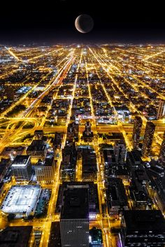 Crescent moon on Chicago
