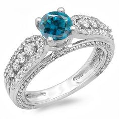 Share and get $20 off your order of $100 or more. 1.75 Carat (ctw) 14K White Gold Round Blue & White Diamond Ladies Vintage Style Solitaire With Accents Bridal Engagement Ring 1 3/4 CT - Dazzling Rock #https://www.pinterest.com/dazzlingrock/