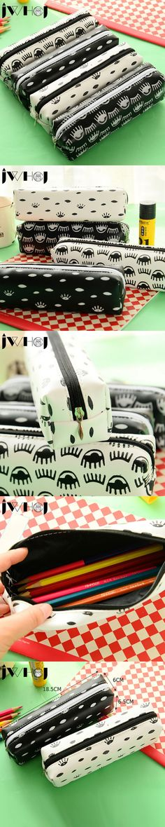 1 pcs Love to laugh eyes pencil case PU leather pencil bag for girl stationery estojo escolar school supplies gift stationery
