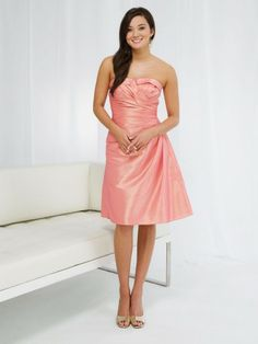 Taffeta Notched Cuff Strapless Wrapped Waist Bodice A-line Bridesmaids Dress