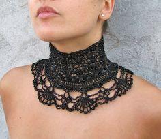 Crocheted high collar choker