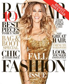 Sarah Jessica Parker dazzles in gold on the September 2013 issue of Harper's Bazaar.