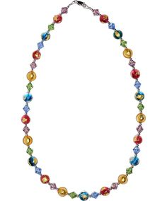 Gypsy Multi Colors Tosca 24kt Gold Foil Patches and Swarovski Necklace 21 Inches