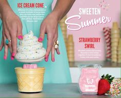 Warmer and scent of the month for July!!! This will be one ice cream cone I won't feel guilty having! (it won't make me fat!!) lol  www.theresasmith882.scentsy.us