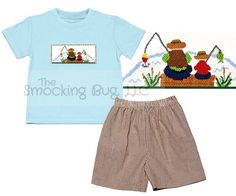 """Boys Light Blue Smocked """"Fishing with Dad"""" T-shirt (does not include shorts)"""