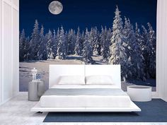 Beautiful Winter Landscape in the Mountains at Night with Stars and Moon Blue Wall Clocks, Blue Wall Decor, Blue Home Decor, Unique Wall Art, Diy Wall Art, Home Wall Art, Wall Art Decor, Affordable Home Decor, Easy Home Decor