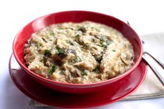 This easy recipe for Chicken & Mushroom Risotto is chock full of with rich flavors and is the perfect comfort food.