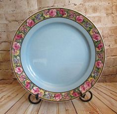 Vintage Pottery Plate Baker & Co Ornate Blue w/ Floral Border Staffordshire  #BakerCo