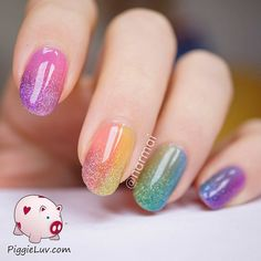 Fantastic and colorful Ombre glitter nail art. Put together your favorite colors into beautiful Ombre combinations and don't forget to add sprinkled of glitter on top for effect.                                                                                                                                                                                 More