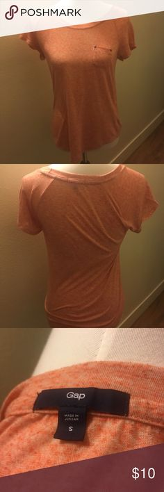 💕Peach gap shirt with pocket Peach gap shirt with pocket.  No trades. Gently used.All clothes will be freshly washed unless NWT. Same day shipping if placed by 3 PM except Sunday. Bundle to save on shipping costs .4 GAP Tops