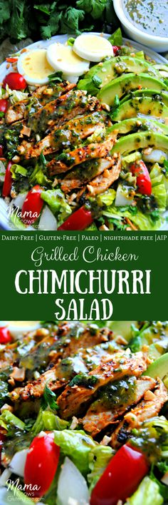 Grilled Chicken Chimichurri Salad. A super favorable twist on traditional chimichurri sauce is both the marinade and dressing for this glorious grilled chicken salad. Gluten-free, Paleo, Autoimmune Protocol diet, Nightshade Free. Mama Knows Gluten Free