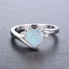 Heart Shaped Diamond Ring, Heart Shaped Engagement Rings, Heart Wedding Rings, Opal Wedding Rings, Heart Shaped Rings, Opal Rings, Fire Opal Engagement Ring, Heart Rings, Diamond Rings