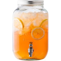 Mason Jar Drink Dispenser (28 CAD) ❤ liked on Polyvore featuring home, kitchen & dining, serveware, food, drinks, fillers, food and drink, detail, embellishment and beverage dispenser