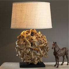 design table lamps made of driftwood