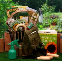 Gardening Lovers Basics Gift Tote  Finally a gardening gift tote that's the perfect gift for him. No frills and fancy doilies here, just the basic needs of every gardening lover in America.