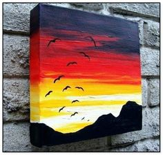 Easy Acrylic Canvas Painting Ideas for Beginners 46 – Home Design Real Easy Landscape Paintings, Small Canvas Paintings, Easy Canvas Art, Small Canvas Art, Easy Canvas Painting, Simple Acrylic Paintings, Cool Paintings, Acrylic Canvas, Sunset Painting Easy
