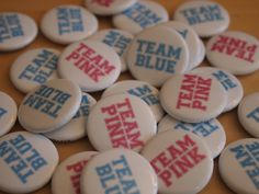 Gender Reveal Party: Team Pink Team Blue Gender Reveal Party Favor Buttons