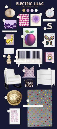 purple and navy nursery style board inspiration