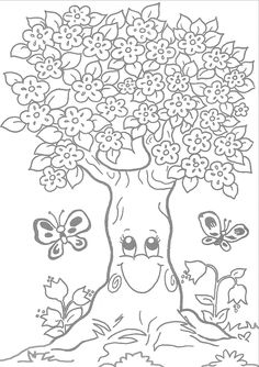 Archivio album Farm Animal Coloring Pages, Spring Coloring Pages, Tree Coloring Page, Colouring Pages, Free Coloring, Adult Coloring Pages, Coloring Sheets, Art Drawings For Kids, Drawing For Kids