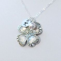 Four Leaf Clover Necklace Personalized by SterlingSimplicity, $23.00