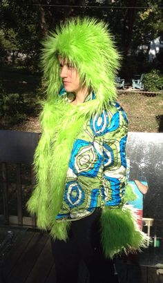 70s Porn Pattern Lime Green Blue Jacket Lined with Shaggy Lime Green Faux Fur Playa Burn Coat on Etsy, $100.00